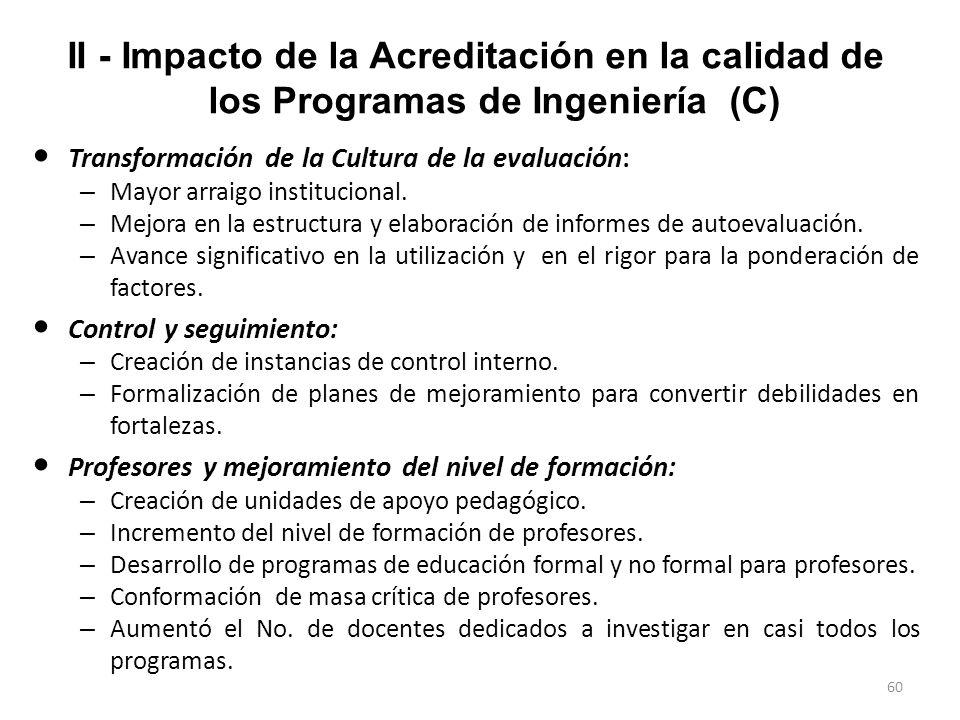 59 II - Impacto de la Acreditación en la calidad de los Programas de Ingeniería (B) Metodología: (2) Se entrevistaron los Decanos de Facultad y los Di