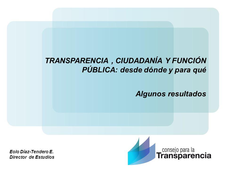Eolo Díaz-Tendero E. Director de Estudios TRANSPARENCIA, CIUDADANÍA Y FUNCIÓN PÚBLICA: desde dónde y para qué Algunos resultados