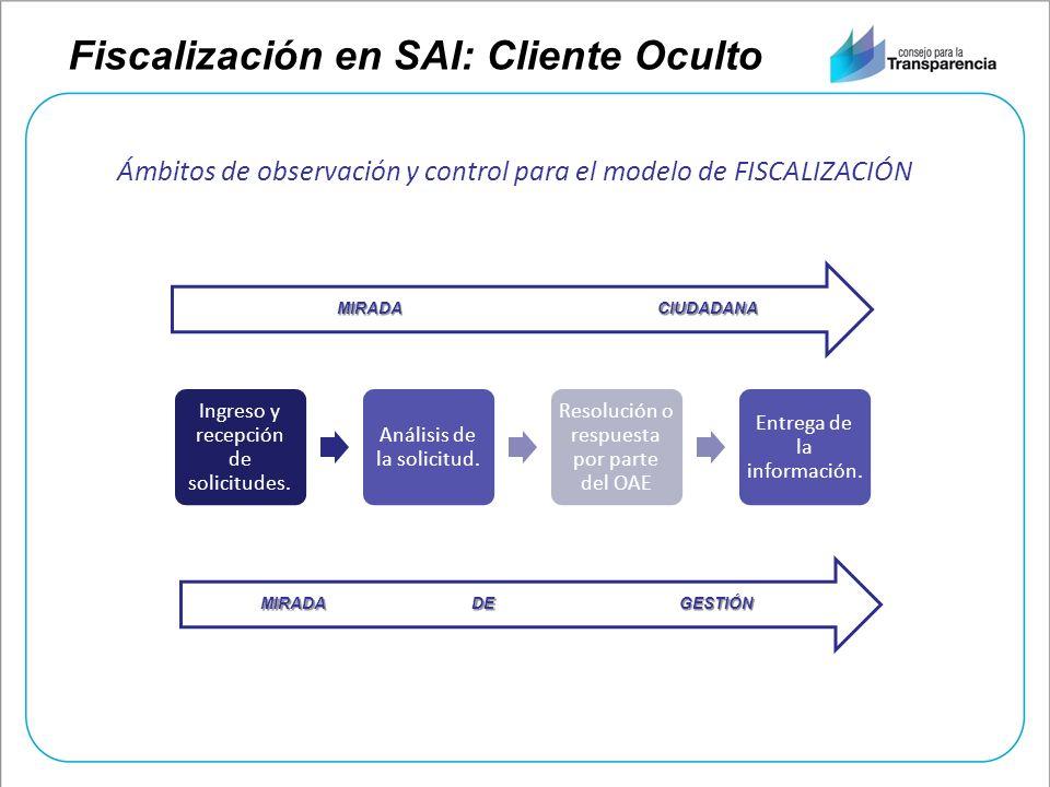 Fiscalización en SAI: Cliente Oculto Ingreso y recepción de solicitudes. Análisis de la solicitud. Resolución o respuesta por parte del OAE Entrega de