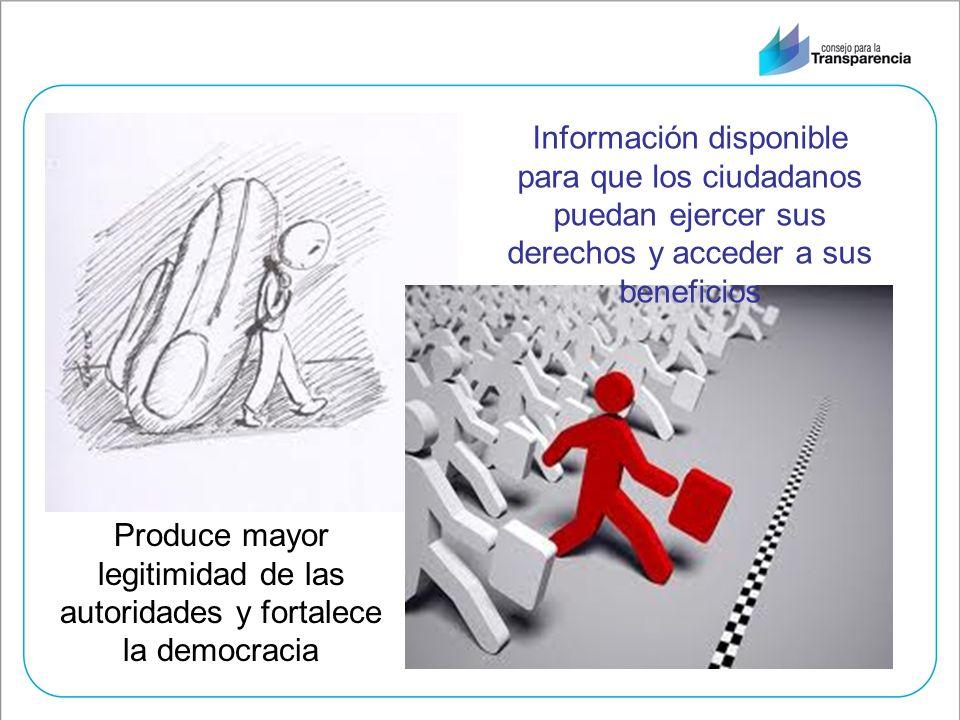 Información disponible para que los ciudadanos puedan ejercer sus derechos y acceder a sus beneficios Produce mayor legitimidad de las autoridades y f