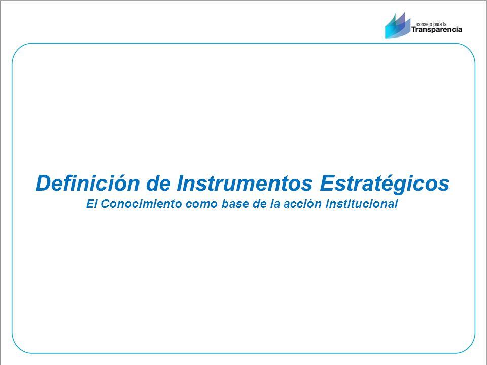 Definición de Instrumentos Estratégicos El Conocimiento como base de la acción institucional