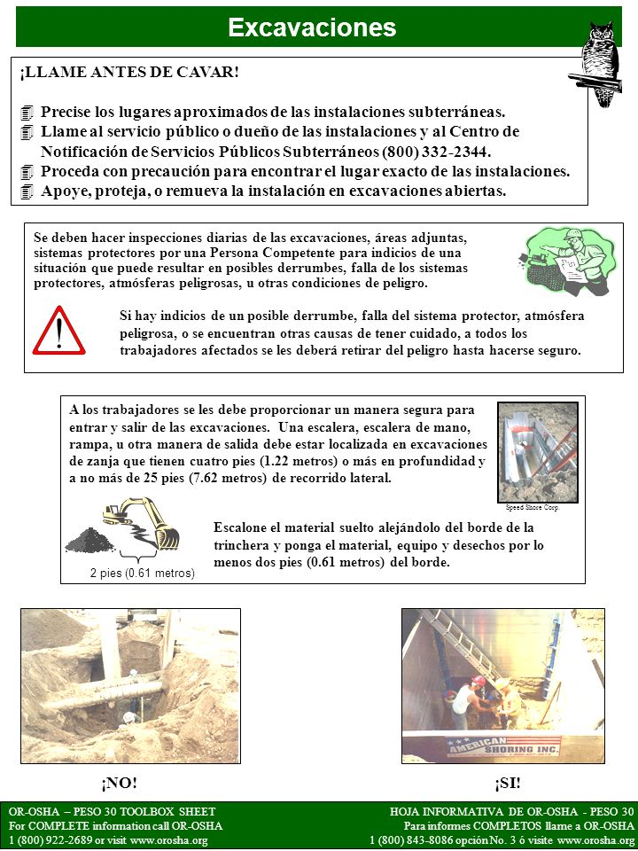 OR-OSHA – PESO 30 TOOLBOX SHEET For COMPLETE information call OR-OSHA 1 (800) 922-2689 or visit www.orosha.org HOJA INFORMATIVA DE OR-OSHA - PESO 30 Para informes COMPLETOS llame a OR-OSHA 1 (800) 843-8086 opción No.