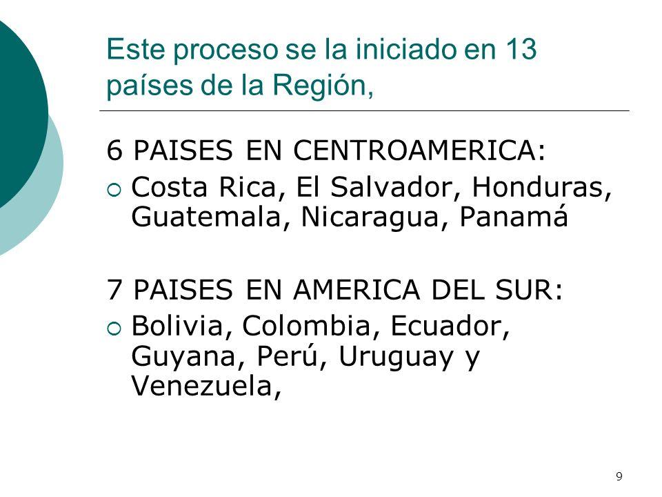 9 Este proceso se la iniciado en 13 países de la Región, 6 PAISES EN CENTROAMERICA: Costa Rica, El Salvador, Honduras, Guatemala, Nicaragua, Panamá 7 PAISES EN AMERICA DEL SUR: Bolivia, Colombia, Ecuador, Guyana, Perú, Uruguay y Venezuela,