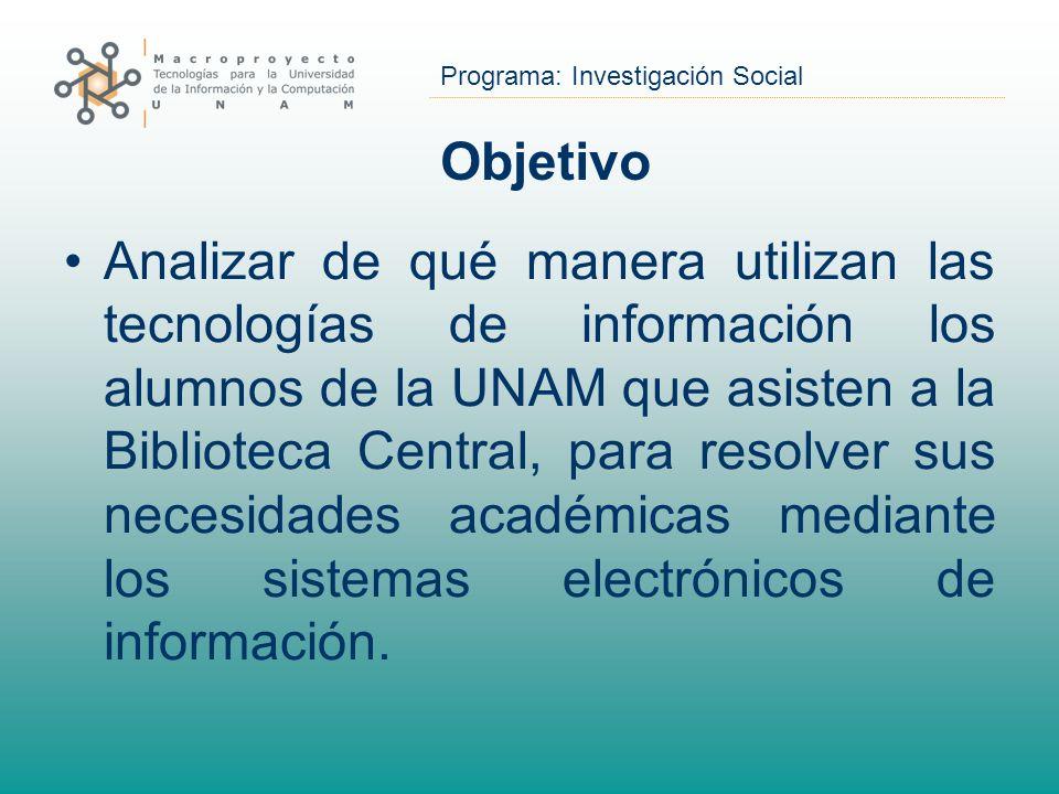 Programa: Investigación Social Objetivo Analizar de qué manera utilizan las tecnologías de información los alumnos de la UNAM que asisten a la Bibliot