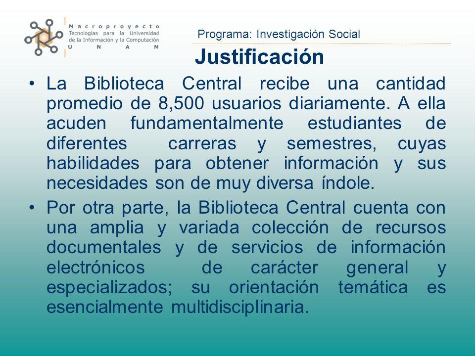 Programa: Investigación Social Justificación La Biblioteca Central recibe una cantidad promedio de 8,500 usuarios diariamente. A ella acuden fundament