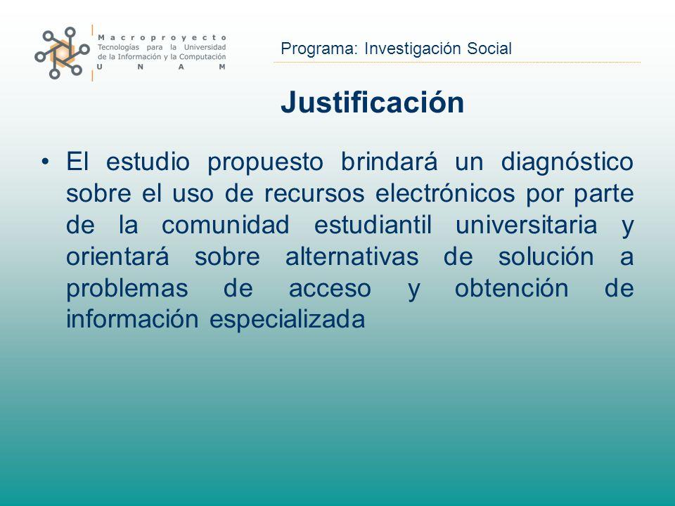 Programa: Investigación Social Justificación El estudio propuesto brindará un diagnóstico sobre el uso de recursos electrónicos por parte de la comuni