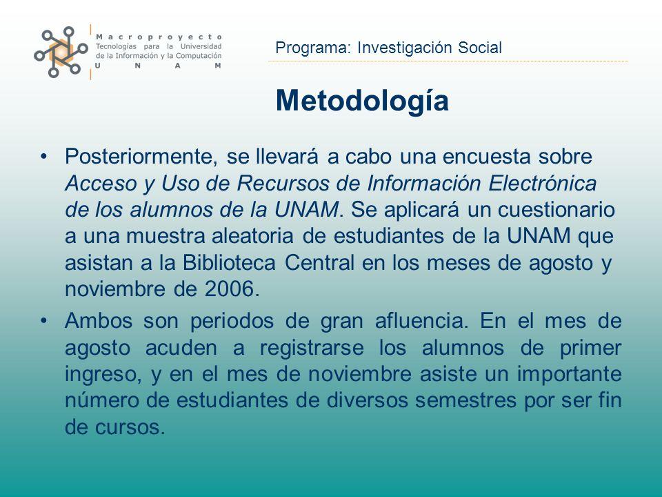 Programa: Investigación Social Metodología Posteriormente, se llevará a cabo una encuesta sobre Acceso y Uso de Recursos de Información Electrónica de