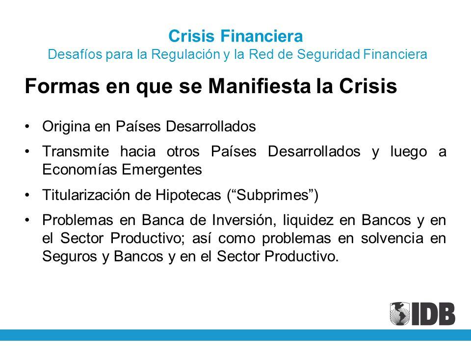 Crisis Financiera Desafíos para la Regulación y la Red de Seguridad Financiera Formas en que se Manifiesta la Crisis Origina en Países Desarrollados T