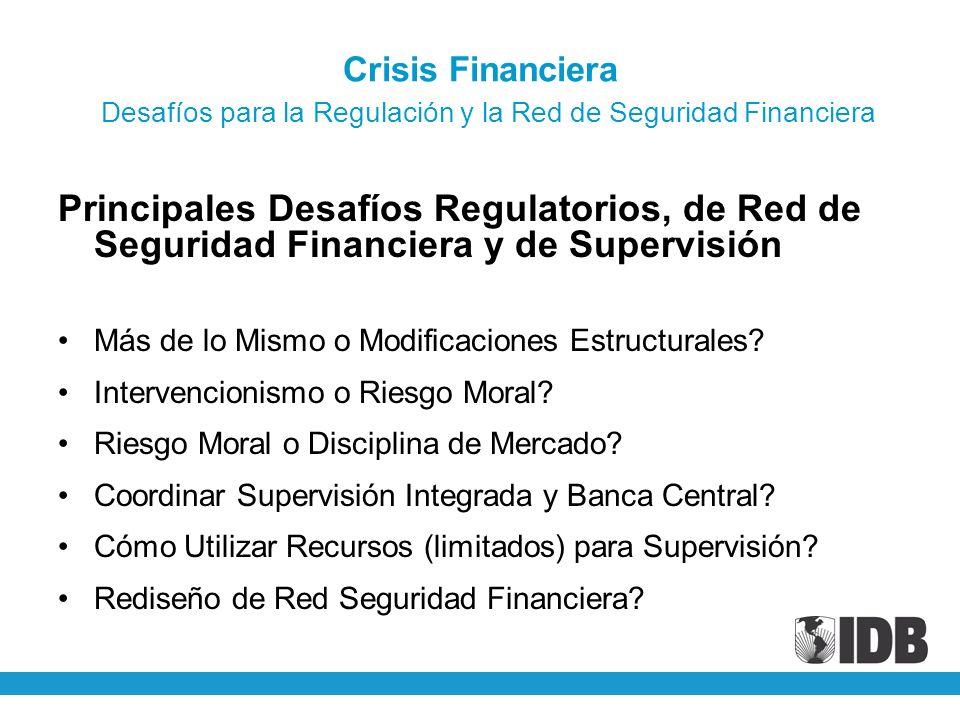Crisis Financiera Desafíos para la Regulación y la Red de Seguridad Financiera Principales Desafíos Regulatorios, de Red de Seguridad Financiera y de