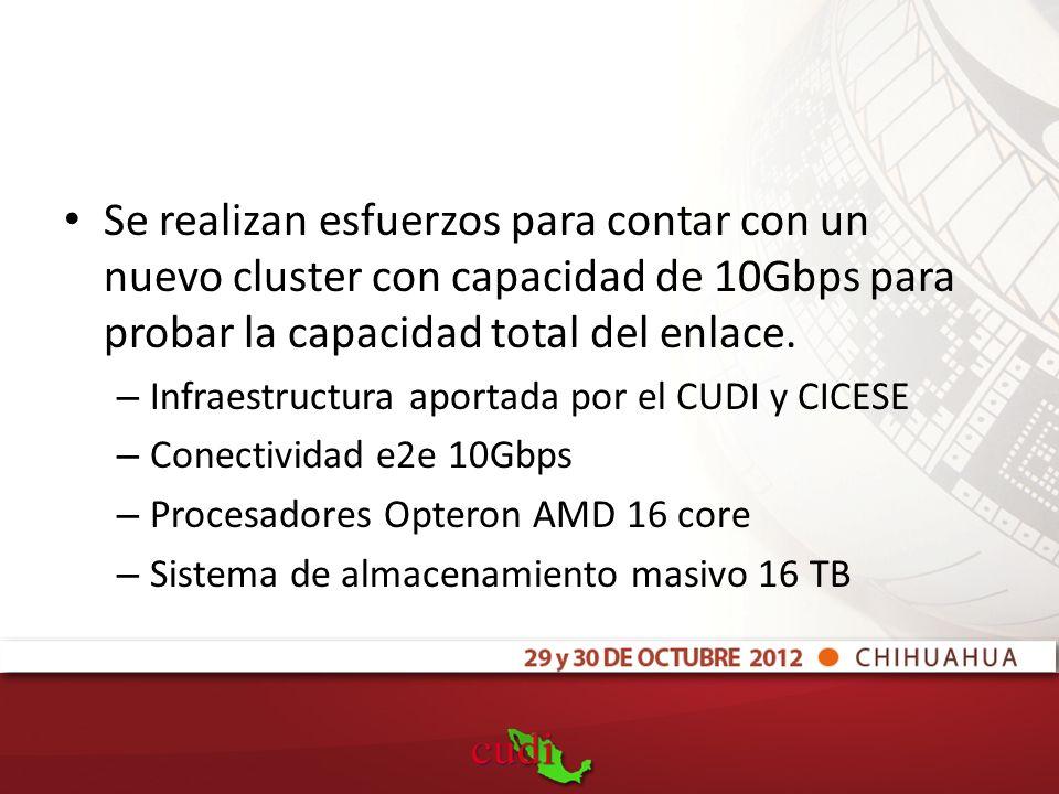 Se realizan esfuerzos para contar con un nuevo cluster con capacidad de 10Gbps para probar la capacidad total del enlace.