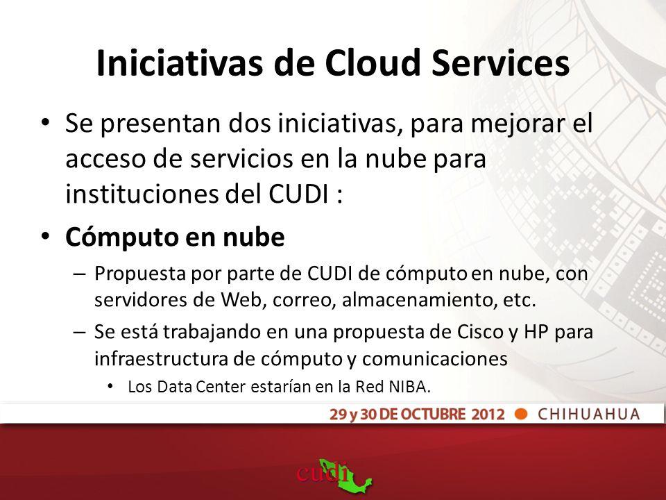 Iniciativas de Cloud Services Se presentan dos iniciativas, para mejorar el acceso de servicios en la nube para instituciones del CUDI : Cómputo en nube – Propuesta por parte de CUDI de cómputo en nube, con servidores de Web, correo, almacenamiento, etc.