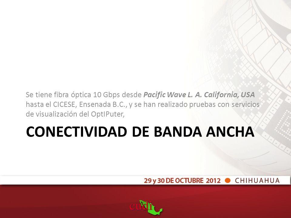 CONECTIVIDAD DE BANDA ANCHA Se tiene fibra óptica 10 Gbps desde Pacific Wave L.