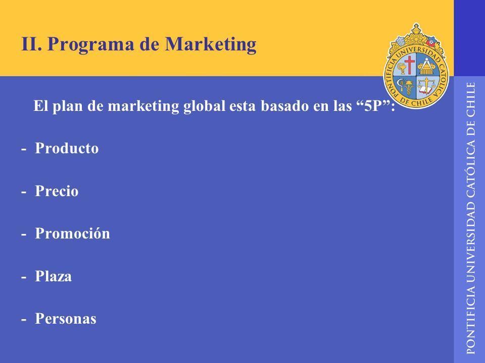 II. Programa de Marketing El plan de marketing global esta basado en las 5P: - Producto - Precio - Promoción - Plaza - Personas