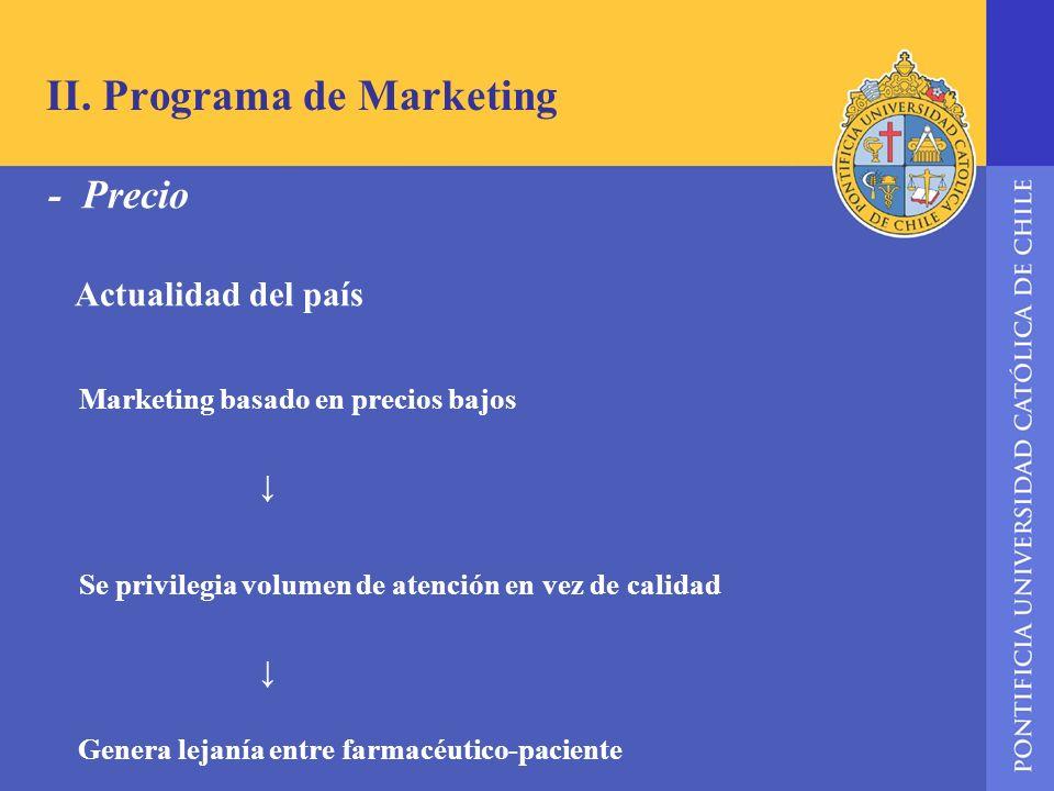 II. Programa de Marketing - Precio Actualidad del país Marketing basado en precios bajos Se privilegia volumen de atención en vez de calidad Genera le