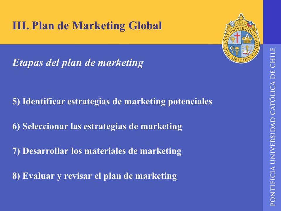 III. Plan de Marketing Global Etapas del plan de marketing 5) Identificar estrategias de marketing potenciales 6) Seleccionar las estrategias de marke