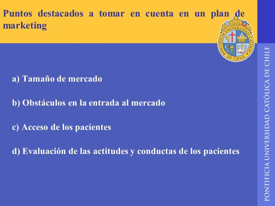 Puntos destacados a tomar en cuenta en un plan de marketing a) Tamaño de mercado b) Obstáculos en la entrada al mercado c) Acceso de los pacientes d)