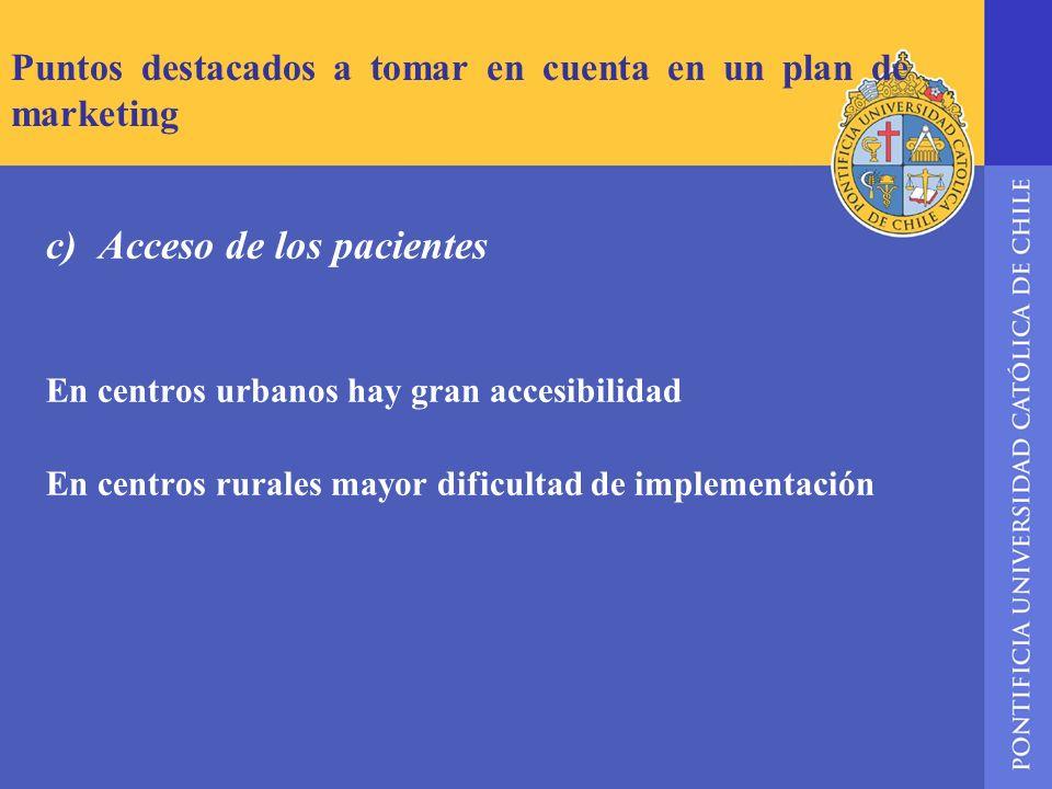 Puntos destacados a tomar en cuenta en un plan de marketing c) Acceso de los pacientes En centros urbanos hay gran accesibilidad En centros rurales ma