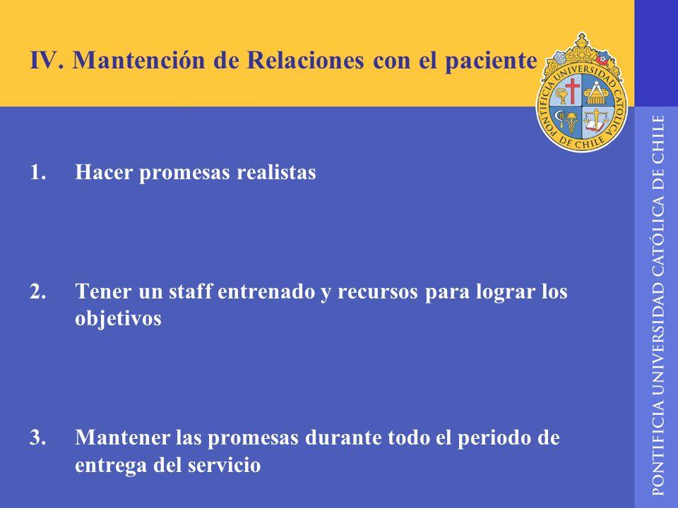 IV. Mantención de Relaciones con el paciente 1.Hacer promesas realistas 2.Tener un staff entrenado y recursos para lograr los objetivos 3. Mantener la