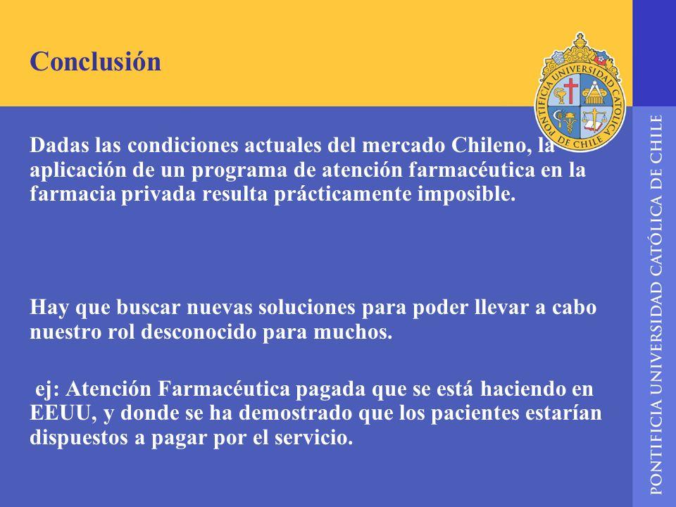 Conclusión Dadas las condiciones actuales del mercado Chileno, la aplicación de un programa de atención farmacéutica en la farmacia privada resulta pr