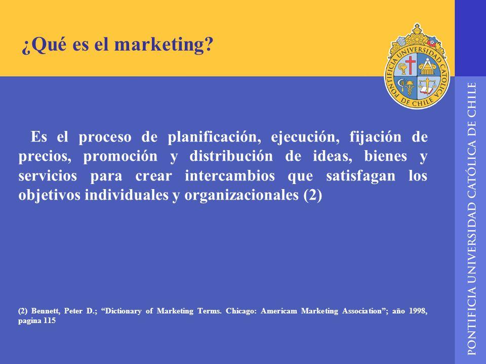 ¿Qué es el marketing? Es el proceso de planificación, ejecución, fijación de precios, promoción y distribución de ideas, bienes y servicios para crear