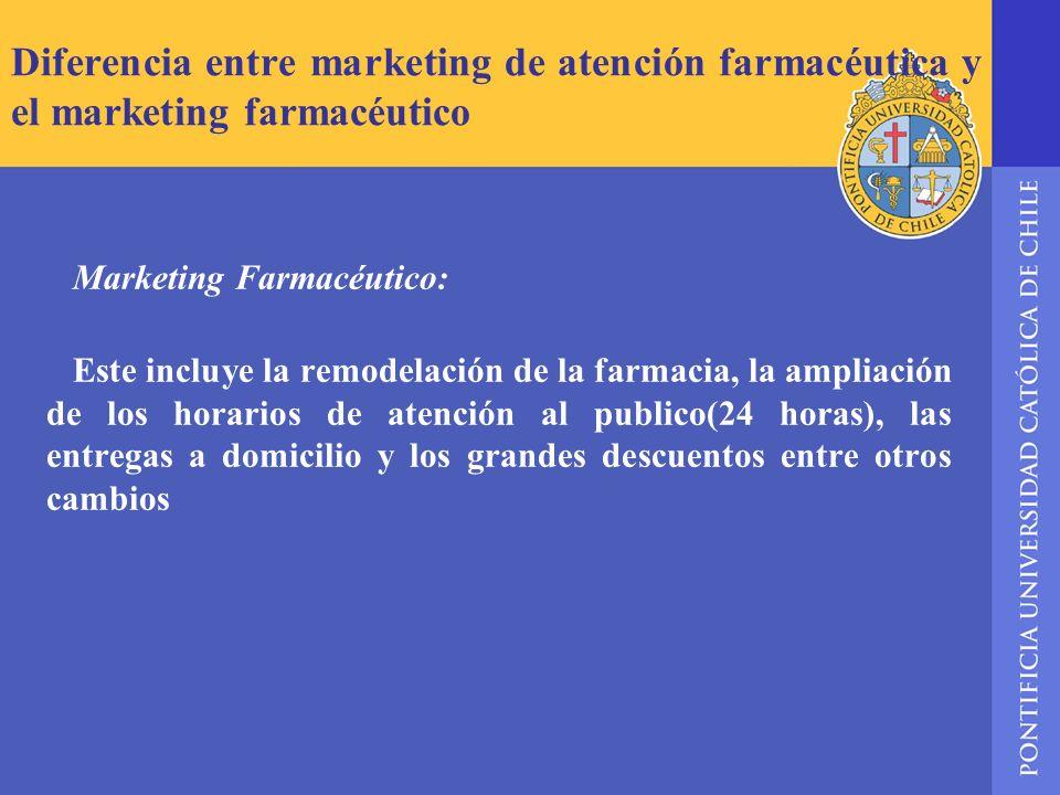 Diferencia entre marketing de atención farmacéutica y el marketing farmacéutico Marketing Farmacéutico: Este incluye la remodelación de la farmacia, l
