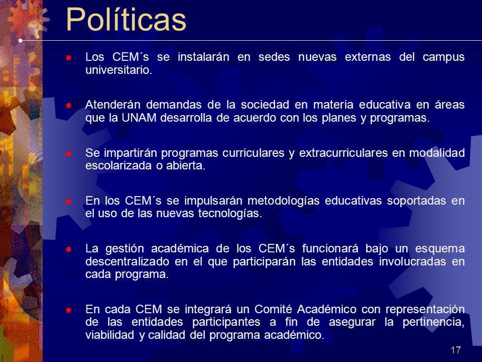 17 Políticas Los CEM´s se instalarán en sedes nuevas externas del campus universitario.