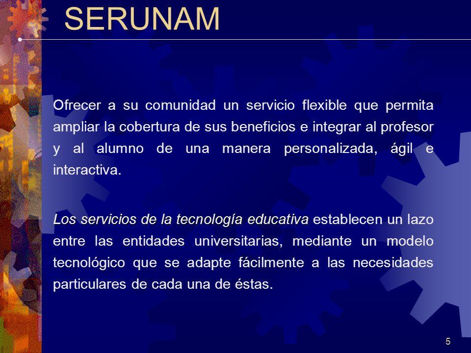 5 SERUNAM Ofrecer a su comunidad un servicio flexible que permita ampliar la cobertura de sus beneficios e integrar al profesor y al alumno de una manera personalizada, ágil e interactiva.