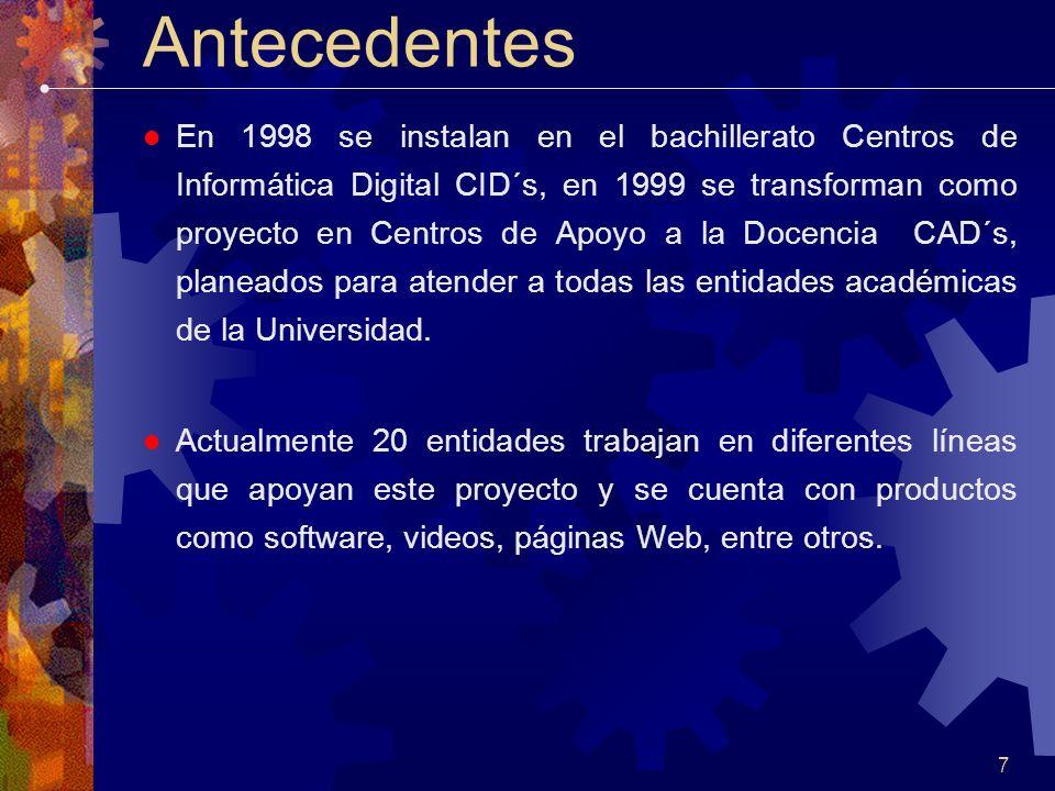 7 Antecedentes En 1998 se instalan en el bachillerato Centros de Informática Digital CID´s, en 1999 se transforman como proyecto en Centros de Apoyo a la Docencia CAD´s, planeados para atender a todas las entidades académicas de la Universidad.