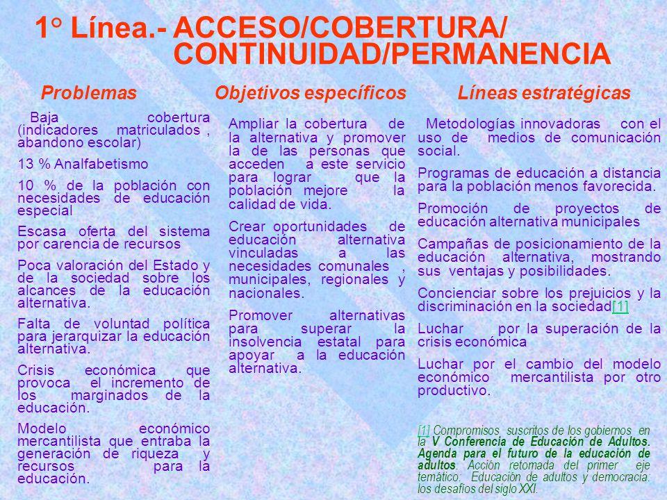 1° Línea.- ACCESO/COBERTURA/ CONTINUIDAD/PERMANENCIA [1][1] Compromisos suscritos de los gobiernos en la V Conferencia de Educación de Adultos.