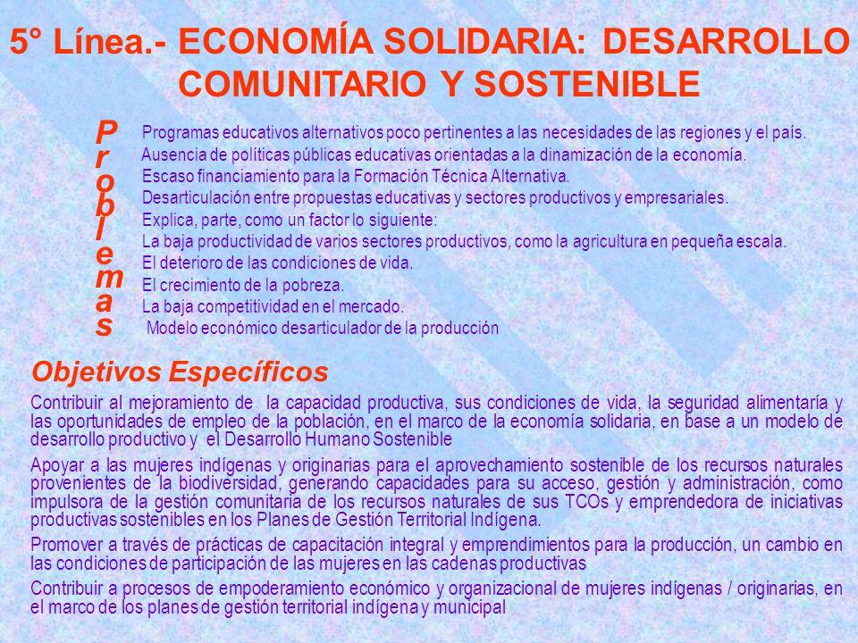 5° Línea.- ECONOMÍA SOLIDARIA: DESARROLLO COMUNITARIO Y SOSTENIBLE Programas educativos alternativos poco pertinentes a las necesidades de las regiones y el país.