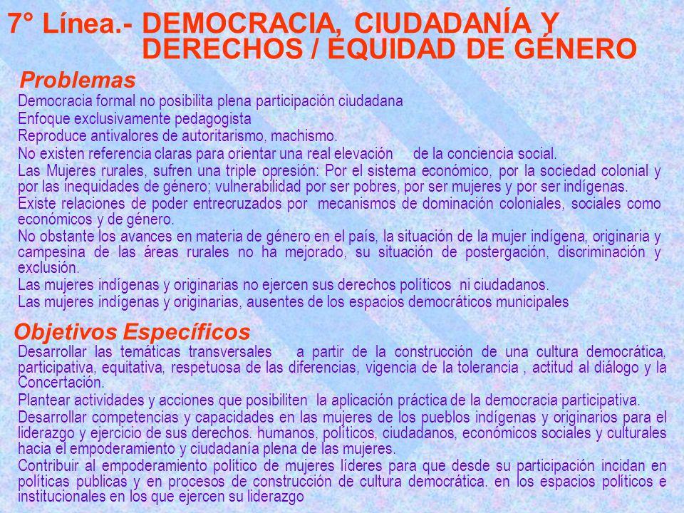 7° Línea.- DEMOCRACIA, CIUDADANÍA Y DERECHOS / EQUIDAD DE GÉNERO Democracia formal no posibilita plena participación ciudadana Enfoque exclusivamente pedagogista Reproduce antivalores de autoritarismo, machismo.