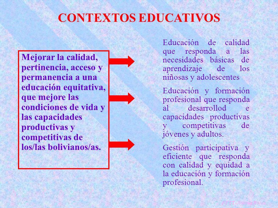 CONTEXTOS EDUCATIVOS Educación de calidad que responda a las necesidades básicas de aprendizaje de los niñosas y adolescentes Educación y formación profesional que responda al desarrollod e capacidades productivas y competitivas de jóvenes y adultos.