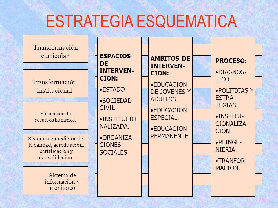 ESTRATEGIA ESQUEMATICA Transformación curricular.