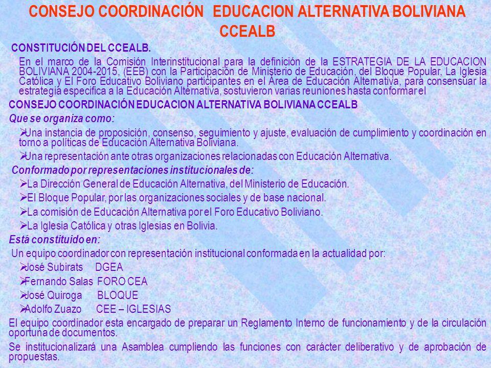 CONSEJO COORDINACIÓN EDUCACION ALTERNATIVA BOLIVIANA CCEALB CONSTITUCIÓN DEL CCEALB.