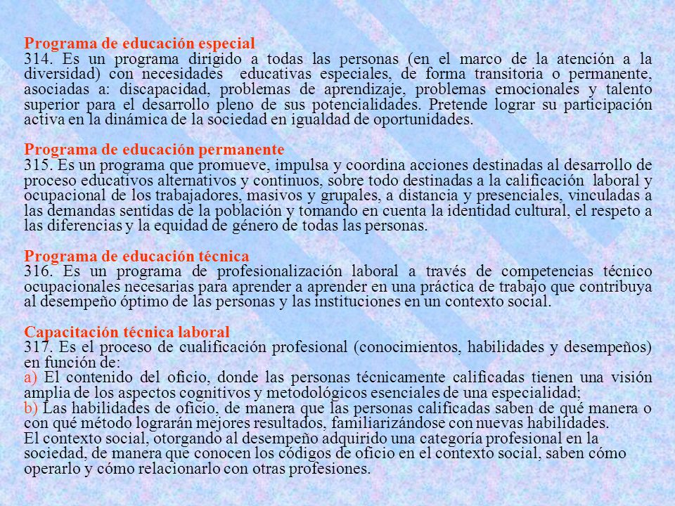 Programa de educación especial 314.