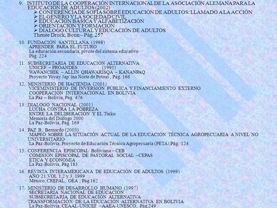 9. ISTITUTO DE LA COOPERACIÓN INTERNACIONAL DE LA ASOCIACIÓN ALEMANA PARA LA EDUCACIÓN DE ADULTOS (2002) CONFERENCIA DE SOFÍA SOBRE EDUCACIÓN DE ADULT