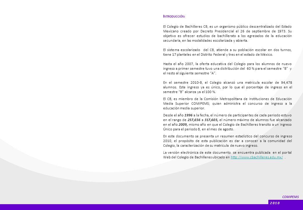 COMIPEMS 2 0 1 0 I NTRODUCCIÓN: El Colegio de Bachilleres CB, es un organismo público descentralizado del Estado Mexicano creado por Decreto Presidencial el 26 de septiembre de 1973.