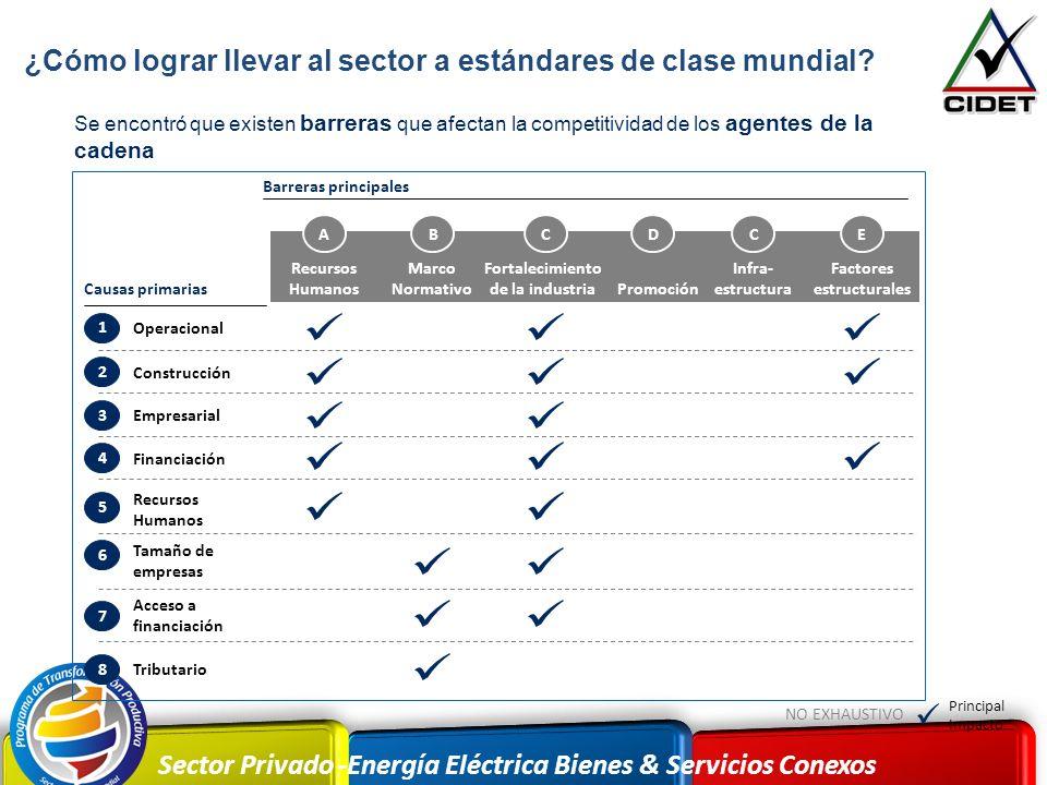 Sector Privado -Energía Eléctrica Bienes & Servicios Conexos Se encontró que existen barreras que afectan la competitividad de los agentes de la caden
