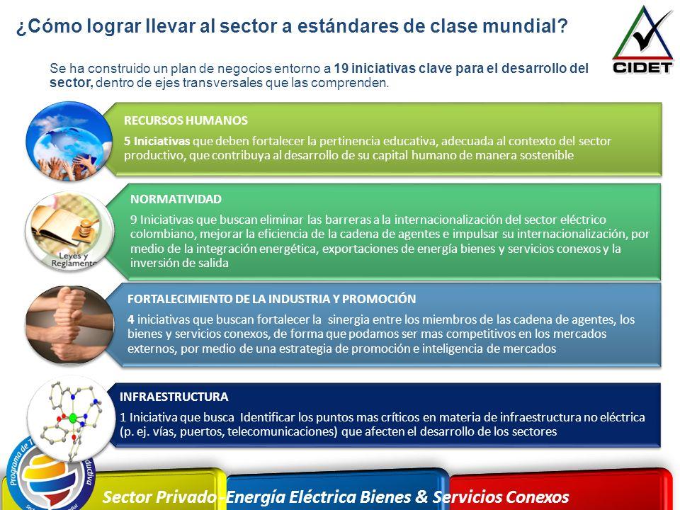 Sector Privado -Energía Eléctrica Bienes & Servicios Conexos Se ha construido un plan de negocios entorno a 19 iniciativas clave para el desarrollo de