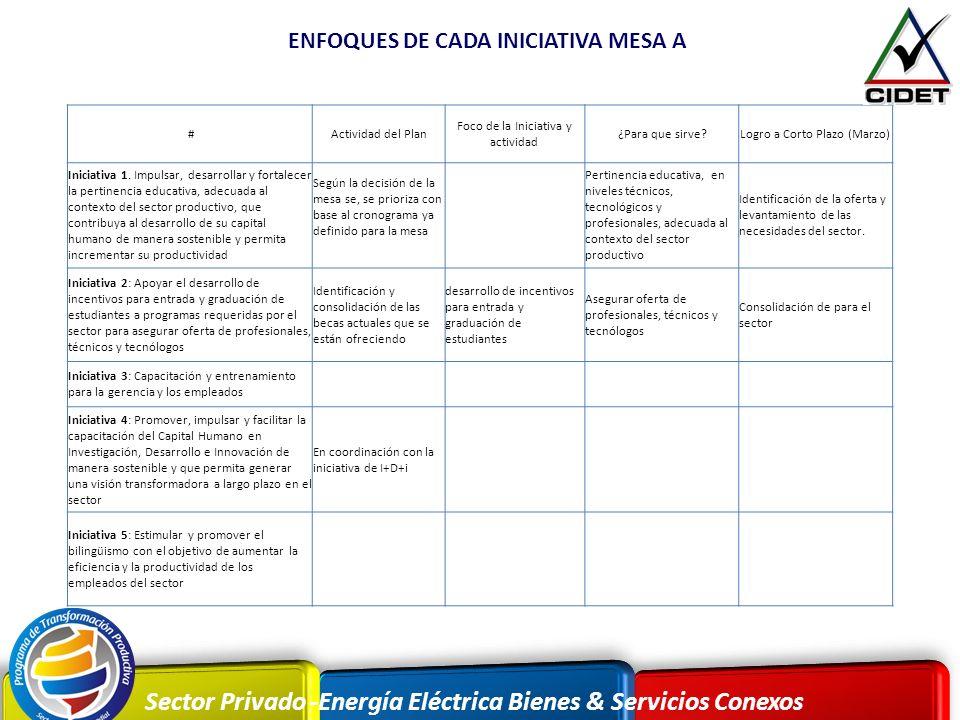 Sector Privado -Energía Eléctrica Bienes & Servicios Conexos ENFOQUES DE CADA INICIATIVA MESA A #Actividad del Plan Foco de la Iniciativa y actividad