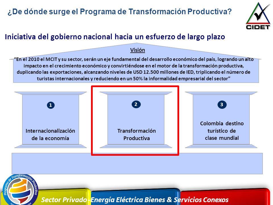 Sector Privado -Energía Eléctrica Bienes & Servicios Conexos Iniciativa del gobierno nacional hacia un esfuerzo de largo plazo En el 2010 el MCIT y su
