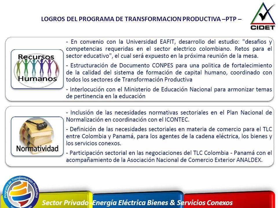 Sector Privado -Energía Eléctrica Bienes & Servicios Conexos LOGROS DEL PROGRAMA DE TRANSFORMACION PRODUCTIVA –PTP –