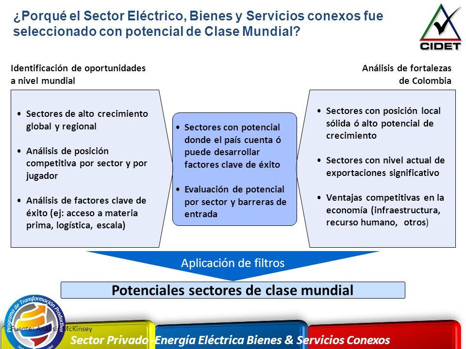 Sector Privado -Energía Eléctrica Bienes & Servicios Conexos Aplicación de filtros Sectores de alto crecimiento global y regional Análisis de posición