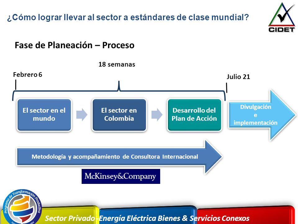 Sector Privado -Energía Eléctrica Bienes & Servicios Conexos El sector en el mundo El sector en Colombia Desarrollo del Plan de Acción Divulgación e i