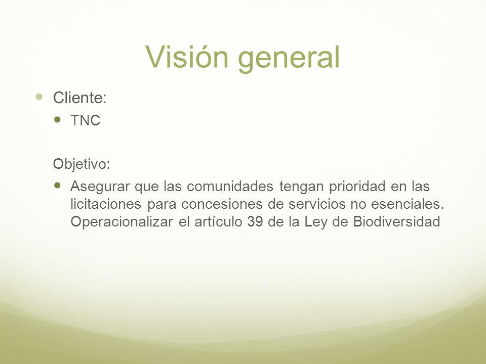 Visión general Cliente: TNC Objetivo: Asegurar que las comunidades tengan prioridad en las licitaciones para concesiones de servicios no esenciales. O