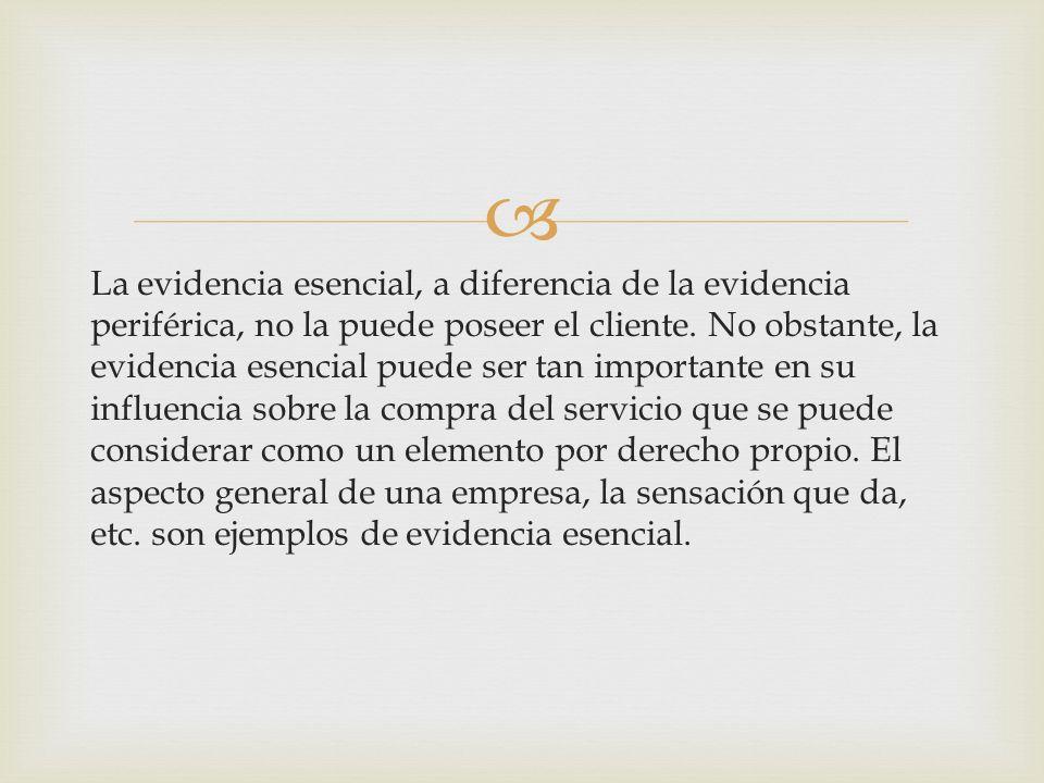 En el marketing de servicios se debe realizar una distinción entre dos clases de evidencia física: la evidencia periférica y la evidencia esencial. La