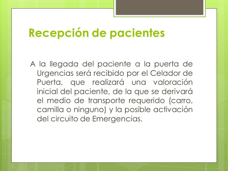 Recepción de pacientes A la llegada del paciente a la puerta de Urgencias será recibido por el Celador de Puerta, que realizará una valoración inicial