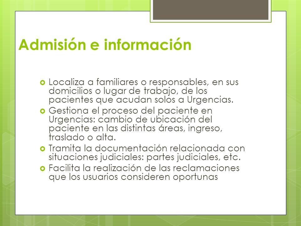 Admisión e información Localiza a familiares o responsables, en sus domicilios o lugar de trabajo, de los pacientes que acudan solos a Urgencias. Gest