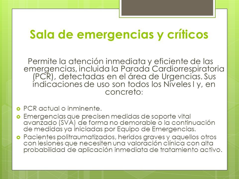 Sala de emergencias y críticos Permite la atención inmediata y eficiente de las emergencias, incluida la Parada Cardiorrespiratoria (PCR), detectadas