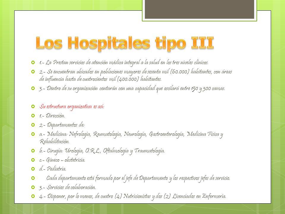 1.- Prestan atención médica de los tres niveles con proyección hacia un área regional.